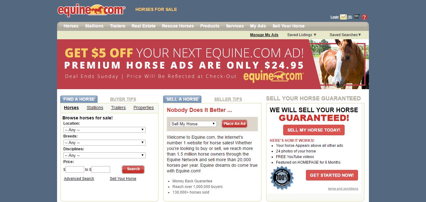 Equine.com homepage