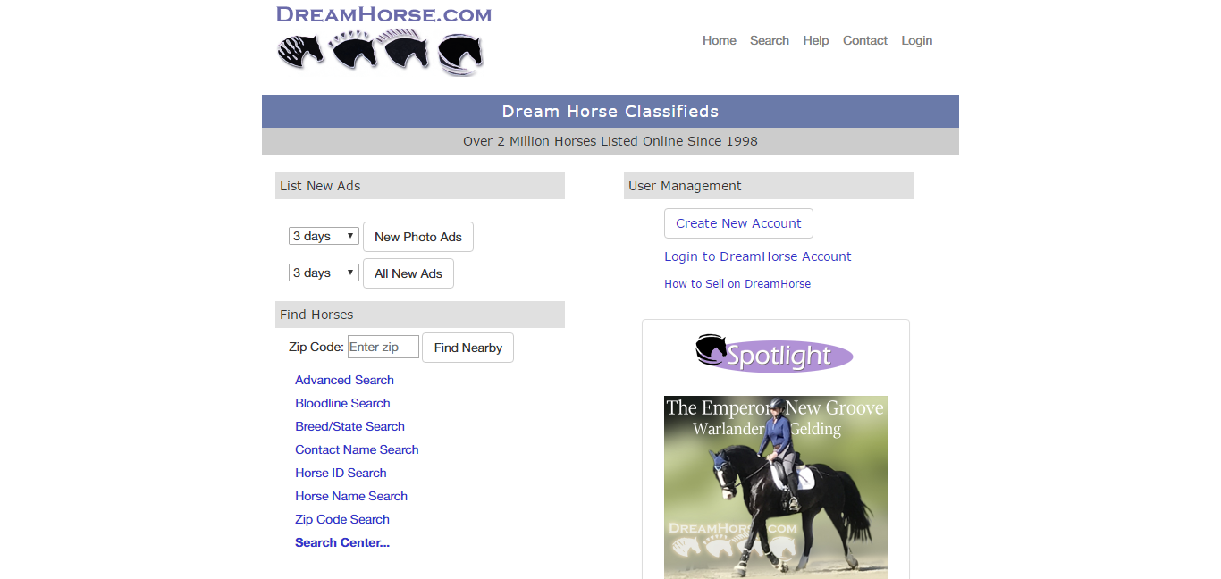 Dreamhorse.com homepage